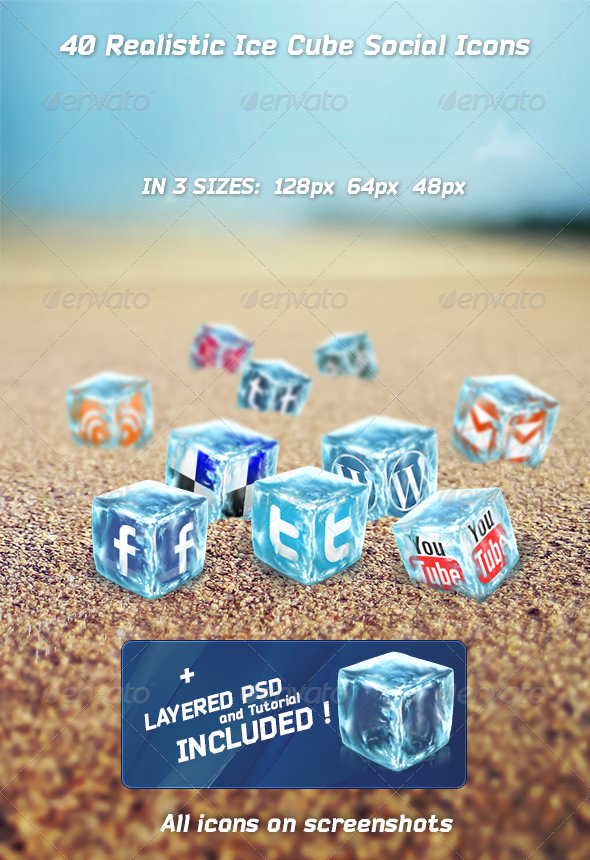 GraphicRiver 40 Realistic Ice Cube Social Icons 2459279