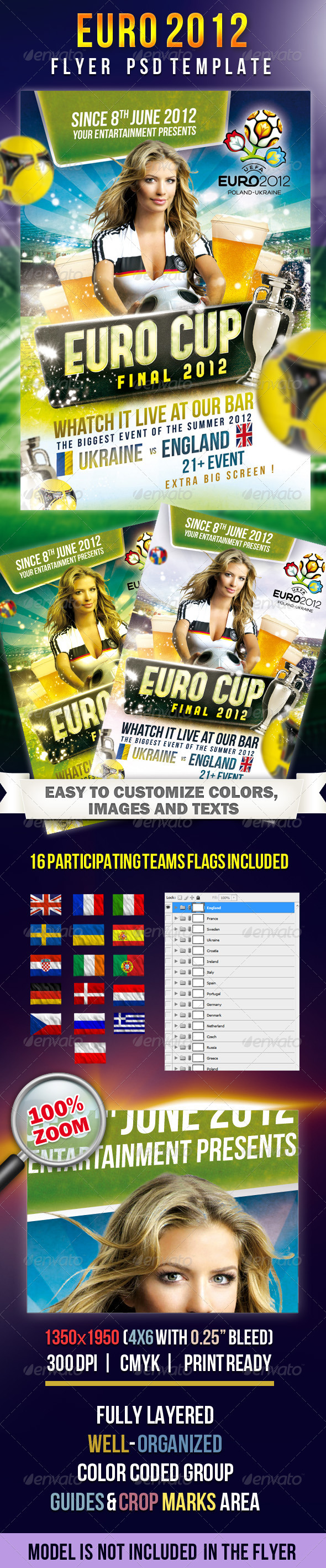 EURO CUP 2012 Flyer PSD Template