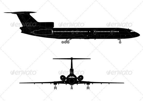 Hi-detail Silhouette of Jetliner