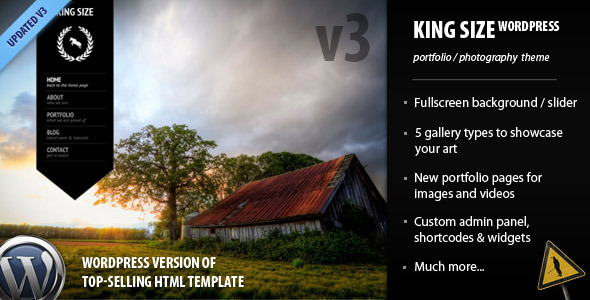 King Size - fullscreen background WordPress theme - ThemeForest Item for Sale