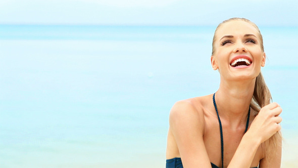 [VideoHive 2484171] Close Up Of Young Beautiful Woman On The Beach | Stock Footage