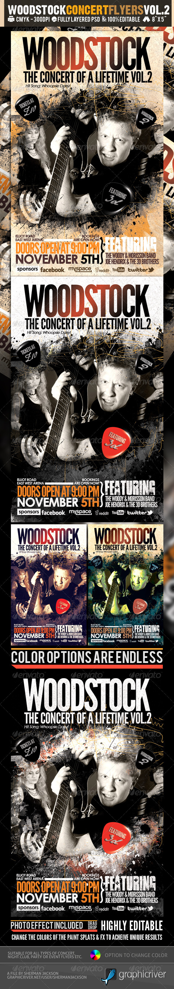 Woodstock PSD Flyer Templates Vol-2 - Concerts Events