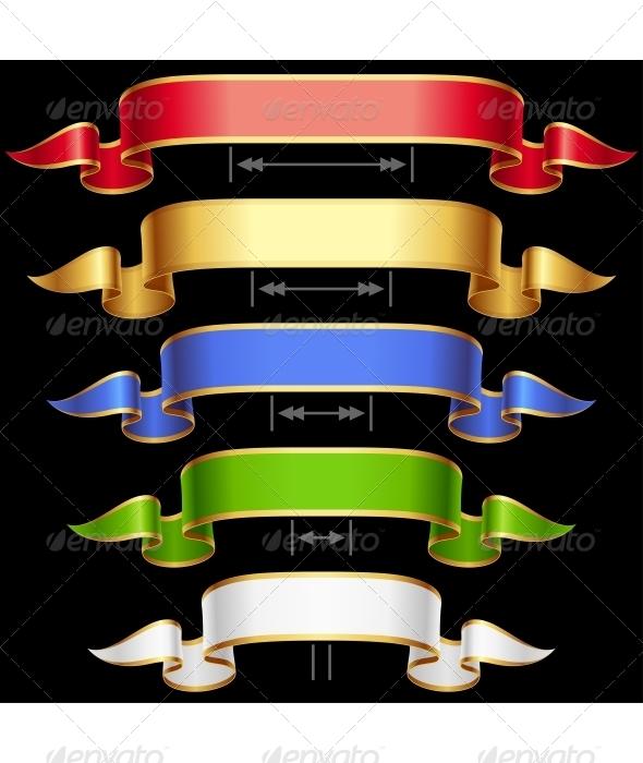 Ribbon set with adjusting length. Vector frame iso - Decorative Symbols Decorative