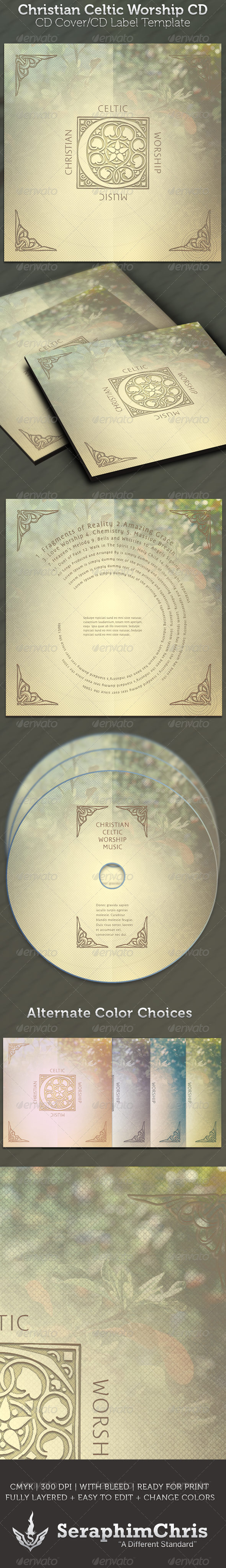 Celtic Christian Worship CD - CD & DVD Artwork Print Templates