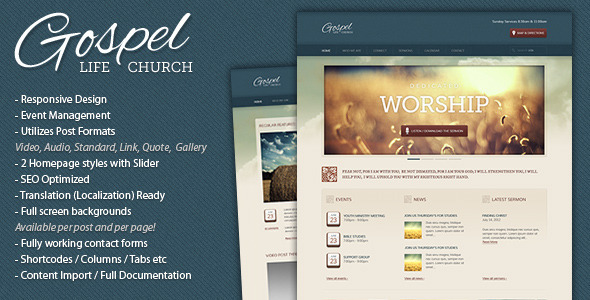 Gospel - Premium Responsive WordPress Theme - Churches Nonprofit