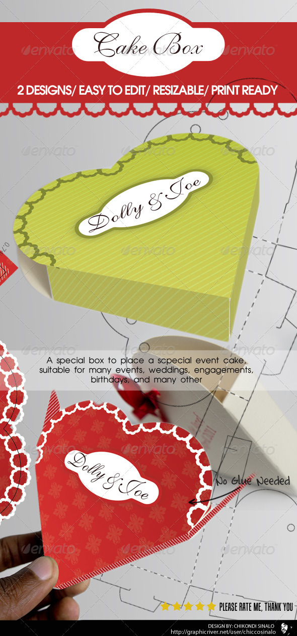 Cake Box Packaging - Packaging Print Templates