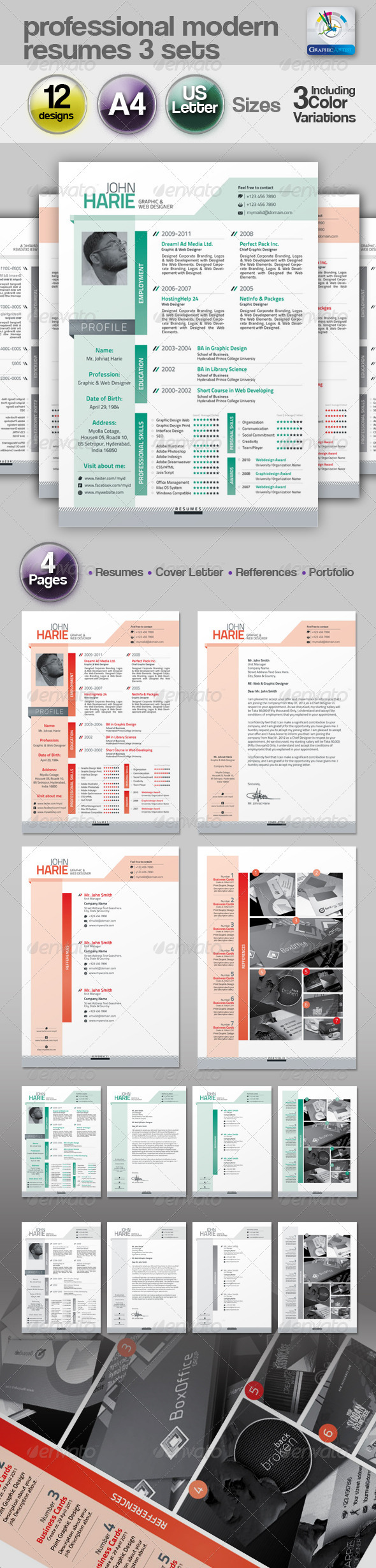 Modern Resume 3 Set - Resumes Stationery