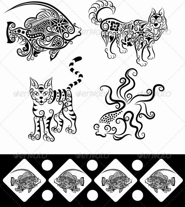 Animal Ornaments (Fish, Goldfish, Wolf, Cat) - Decorative Symbols Decorative
