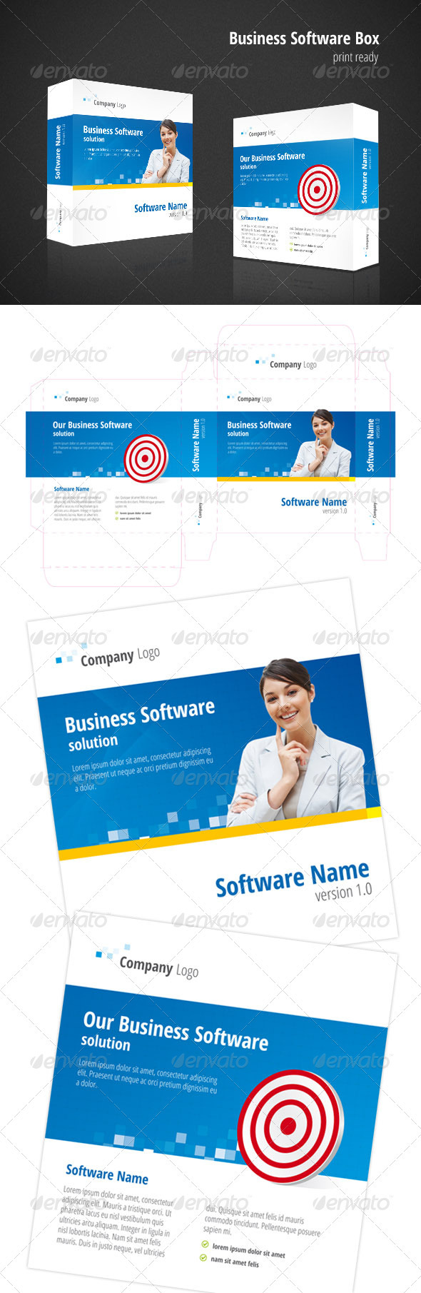 Business Software Box - Packaging Print Templates