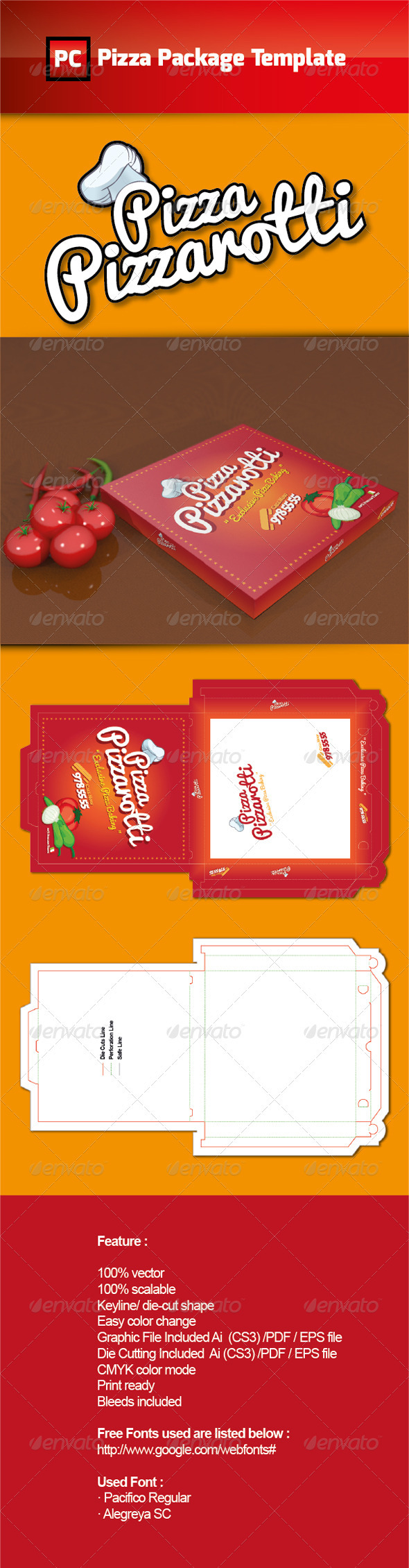 Pizza Package Template Vector Graphicriver