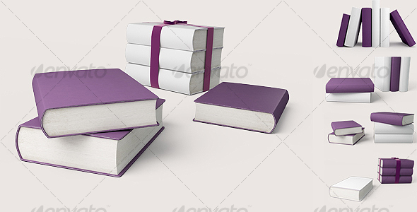 GraphicRiver Violet and white books 3D illustration 89589