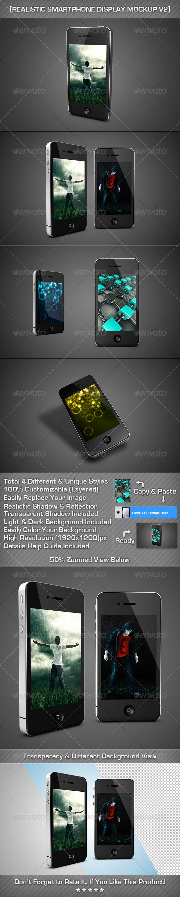 Realistic SmartPhone Display MockUp V2 - Mobile Displays