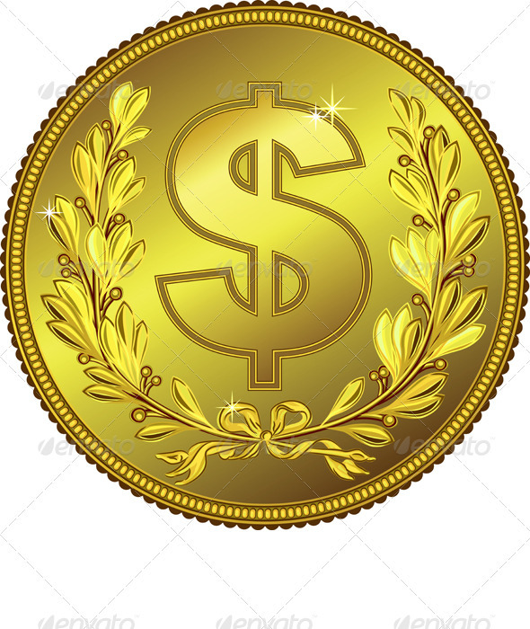 Vector Gold Money Dollar Coin - Business Conceptual