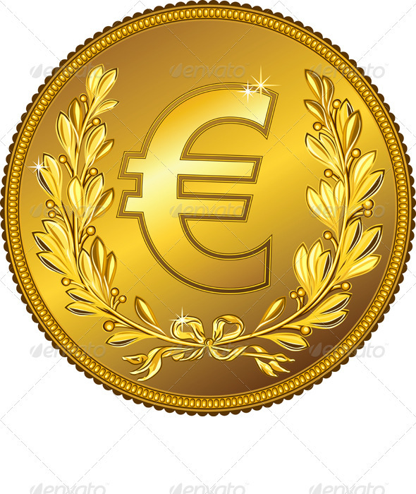 Vector Gold Money Euro Coin - Business Conceptual