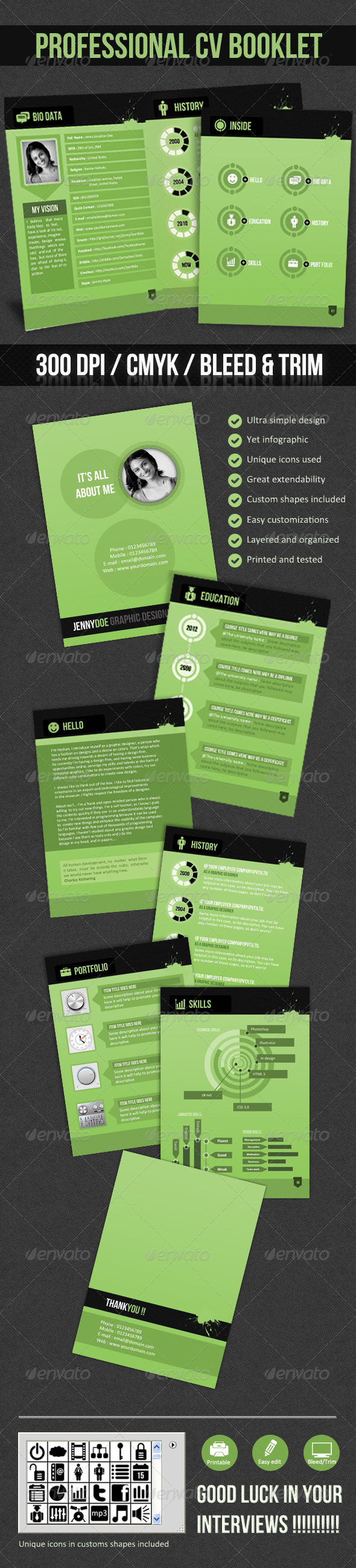 Professional CV Booklet- (Greenish CV) - Resumes Stationery
