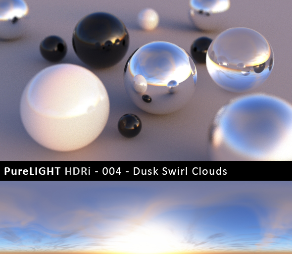 PureLIGHT HDRi 004 - Dusk Swirl Clouds - 3DOcean Item for Sale