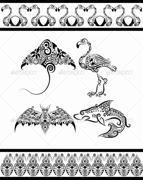 Animal ornaments (flamingo, shark, bat, stingray) - Decorative Symbols Decorative