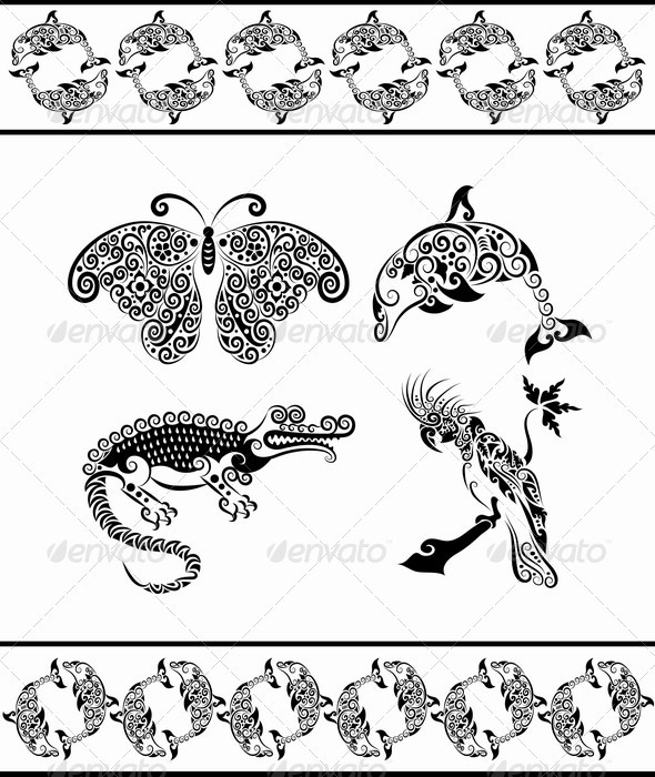Animal ornaments (dolphin, crocodile, cockatoo,) - Decorative Symbols Decorative