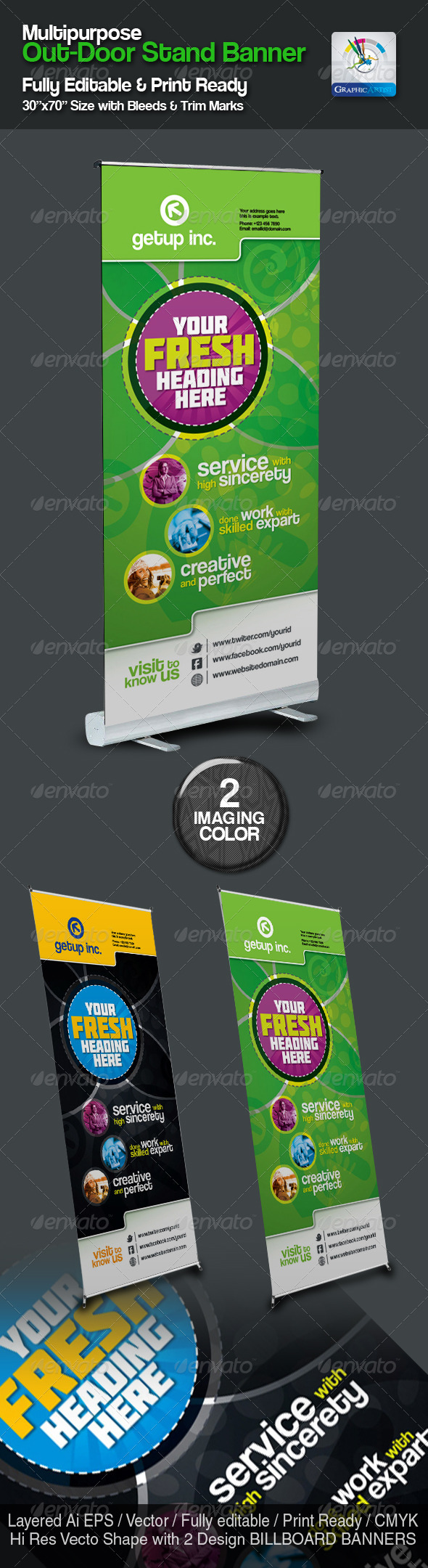 Multipurpose Out-Door Stand Banner Sinage - Signage Print Templates