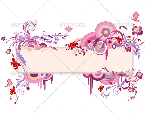 Banner with Floral Ornament - Flowers & Plants Nature