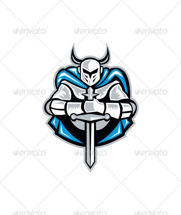 Knight With Sword And Cape Front Retro - People Characters