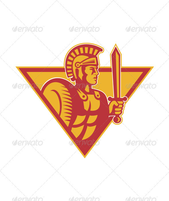 Roman Centurion Soldier With Sword And Shield