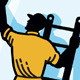 Window Cleaner Worker Cleaning Ladder Retro - GraphicRiver Item for Sale