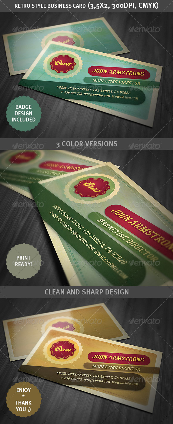 Retro Style Business Card Template - Business Cards Print Templates