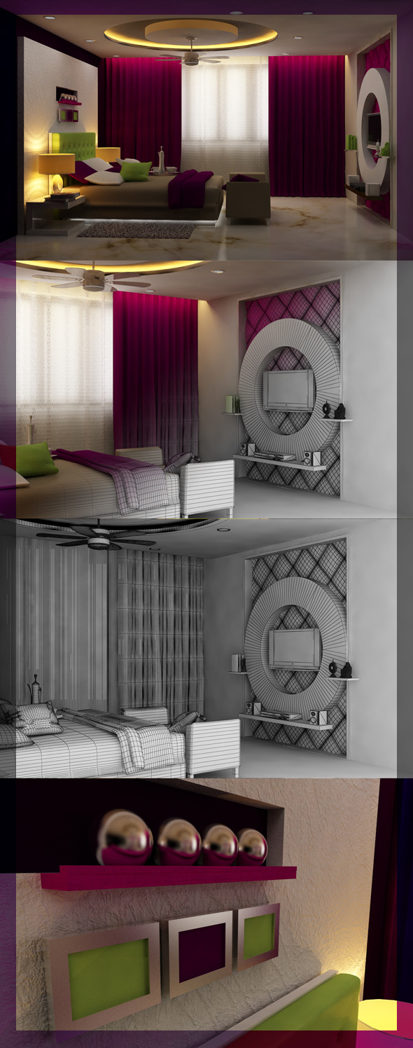 3DOcean Realistic Bedroom interior 3D 2492703
