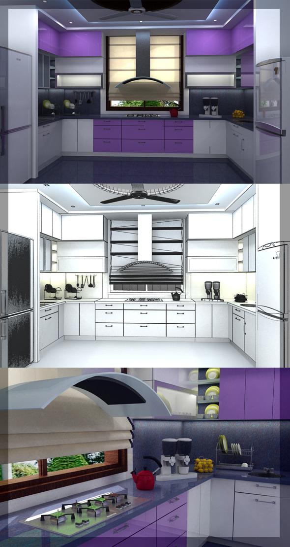 3DOcean Realistic Kitchen interior 3D 2492848