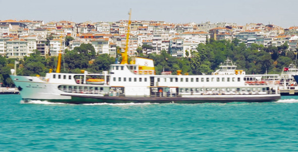 Istanbul Ferry Passing From Right To Left