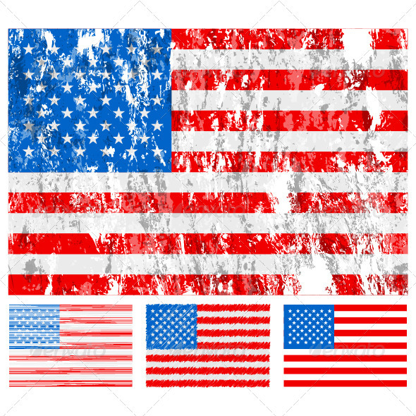 USA grunge flag set - Conceptual Vectors