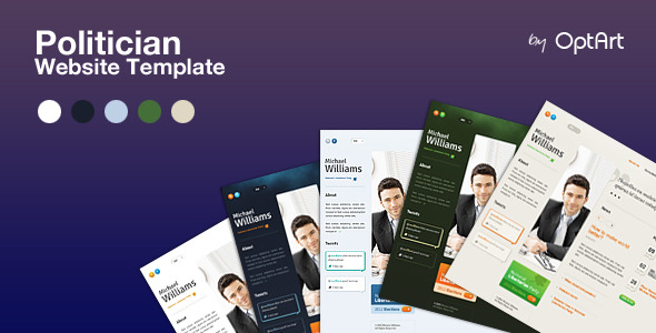 Politician PSD - template for politicians - Politician template comes in 5 color sets