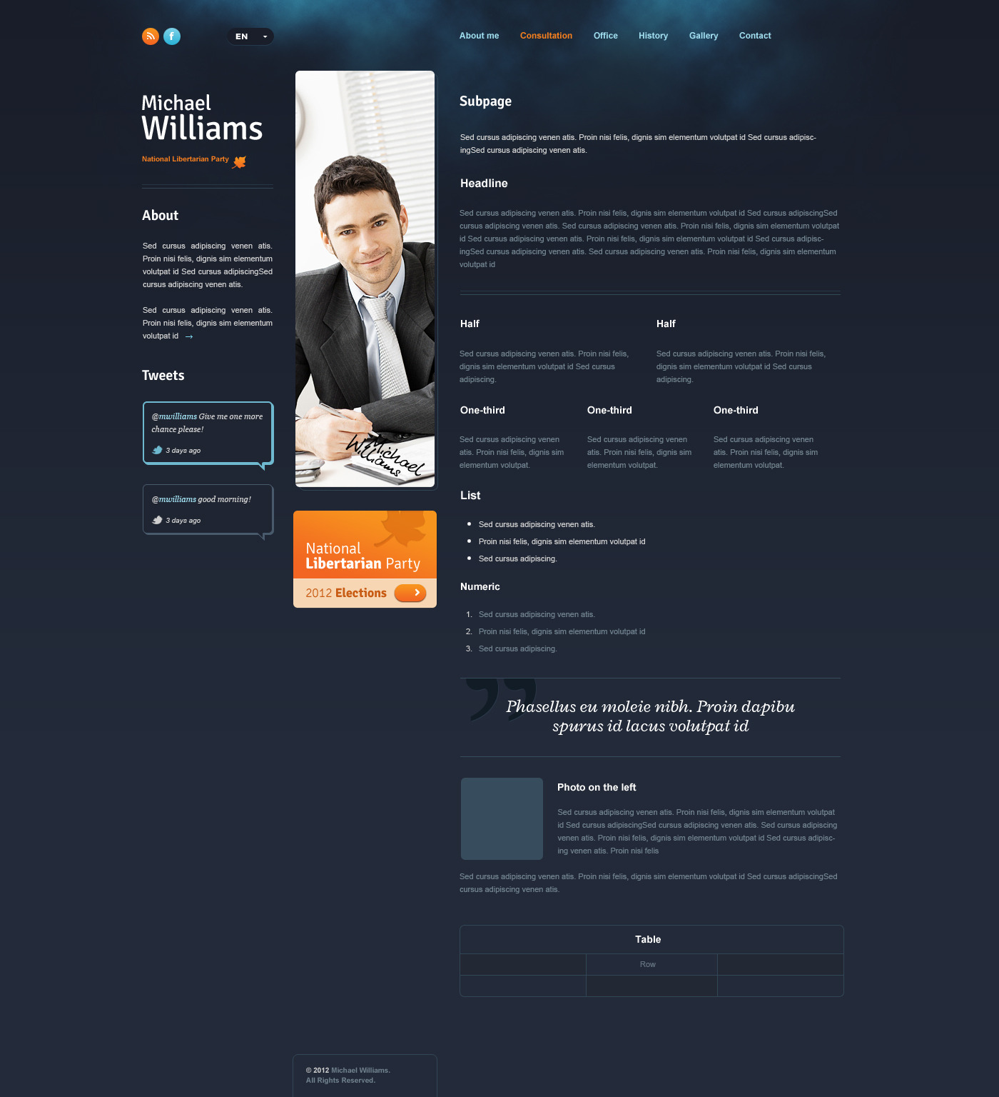 Politician PSD - template for politicians - Example of text page