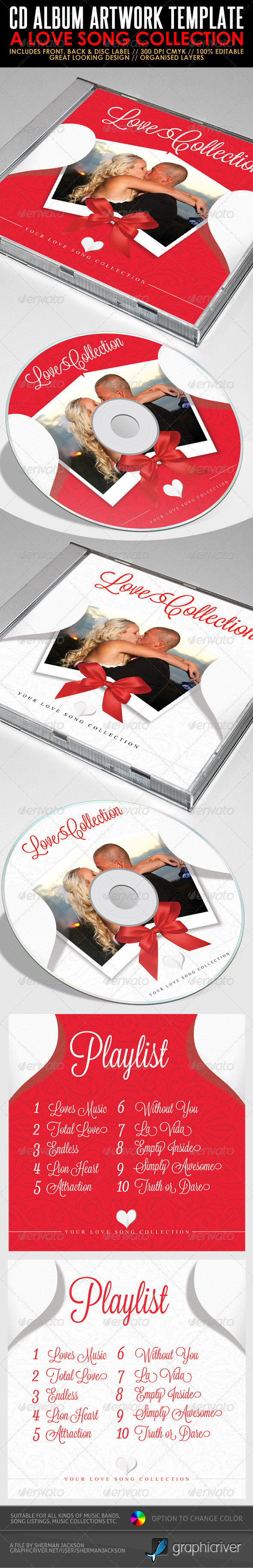 GraphicRiver Love Song Collection CD Artwork PSD Template 2496284