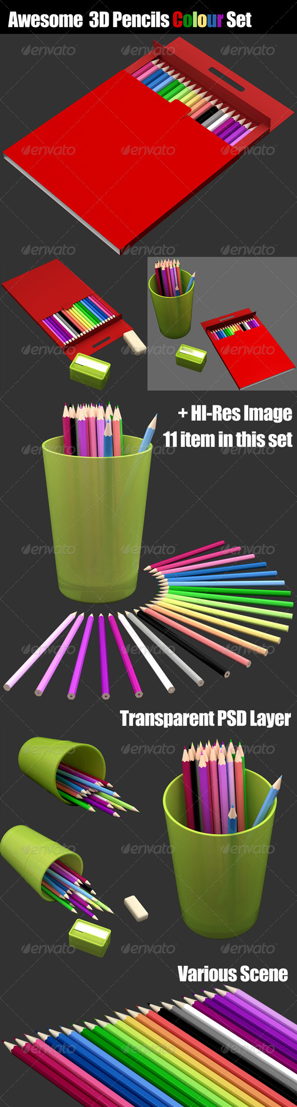 3D Pencils Colour Set - Objects 3D Renders