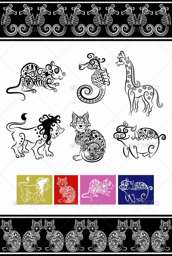 Animal ornaments (cat, lion, seahorse, etc.) - Decorative Symbols Decorative