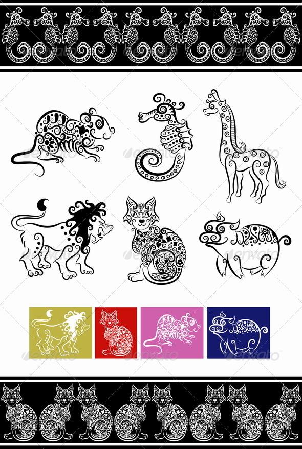 GraphicRiver Animal ornaments cat lion seahorse etc 2498638