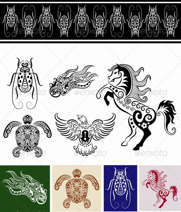 Animal ornaments (horse, bug, turtle, etc.) - Decorative Symbols Decorative