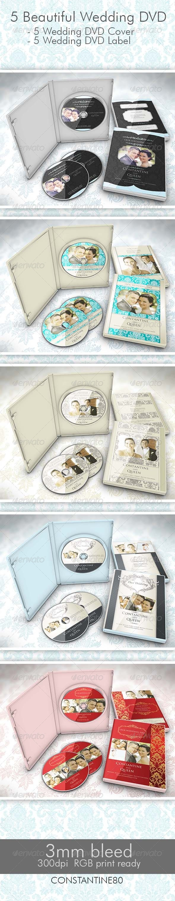 5 Beautiful Wedding DVD - CD & DVD Artwork Print Templates