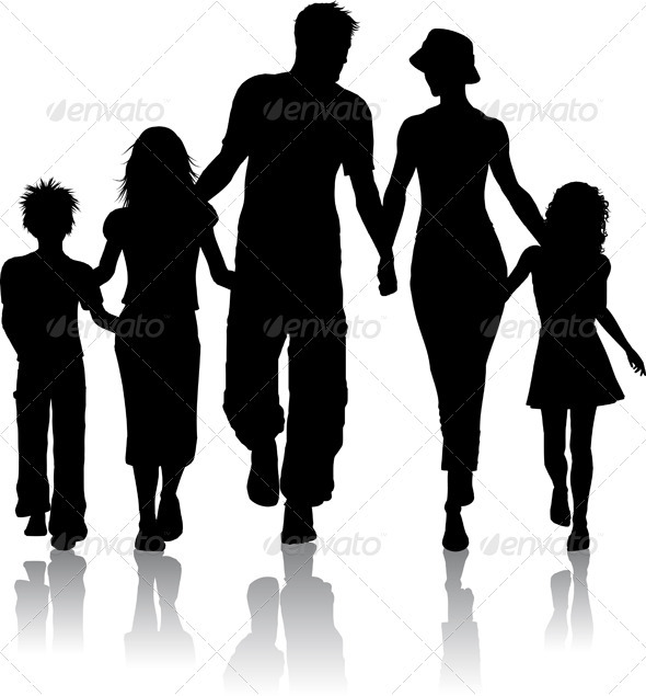 GraphicRiver Family silhouette 2498794