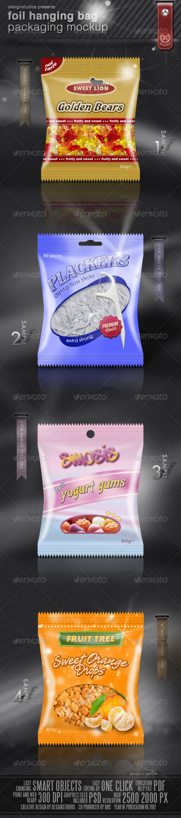 Foil Hanging Bag Packaging Mock-Up