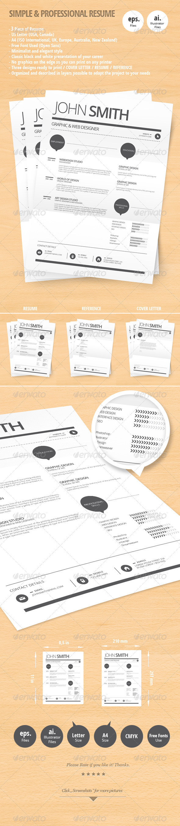 Simple & Professional Resume - Resumes Stationery