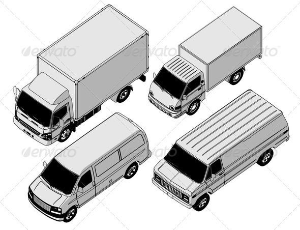 Delivery Van Isometric Set