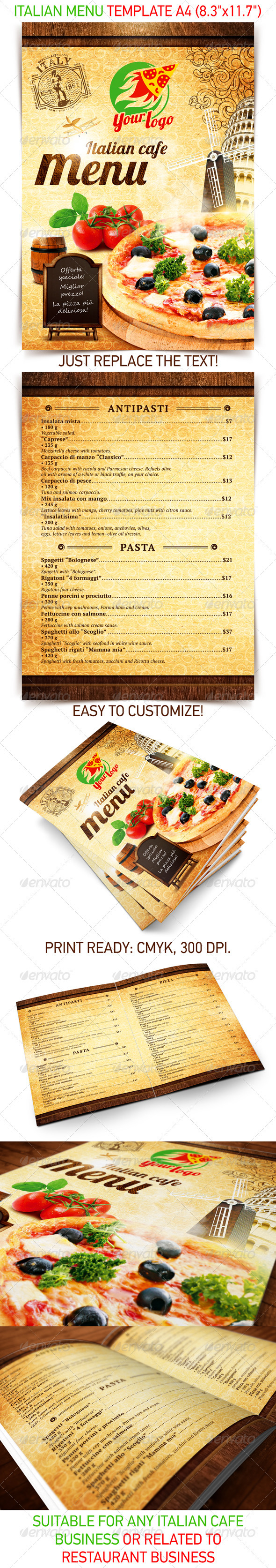 Italian Menu Template - Food Menus Print Templates