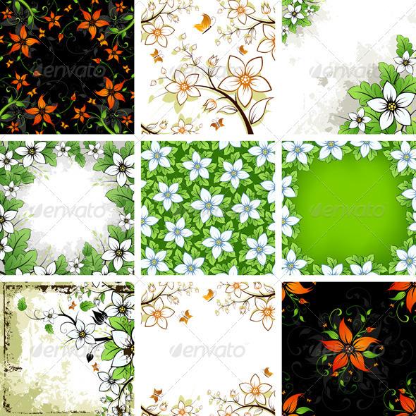 Floral Backgrounds Set - Flowers & Plants Nature