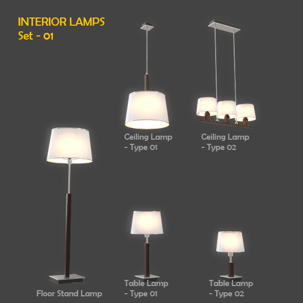 3DOcean Interior Lamps Set 01 91448