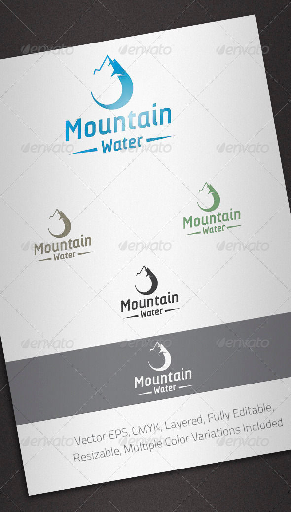 Mountain Water Logo Template - Nature Logo Templates