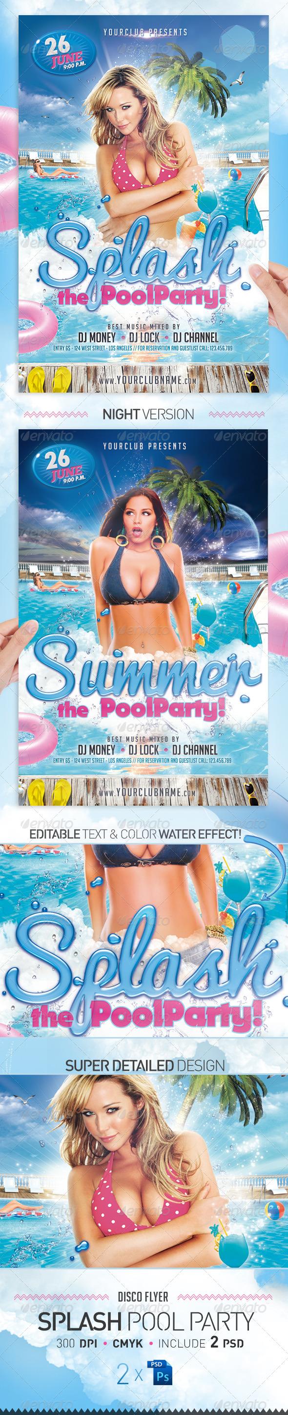 Flyers para Fiestas de Verano: Splash Pool Party