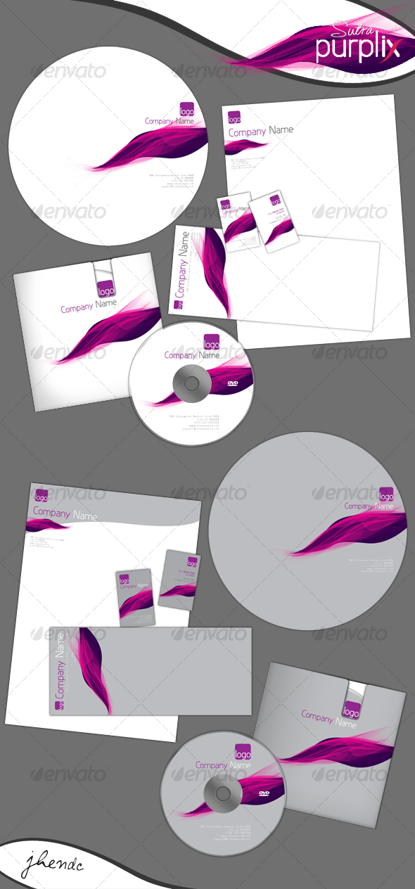Purplix-sutra Corporate Identity - Stationery Print Templates